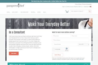 Pampered Chef Website Consultant Page