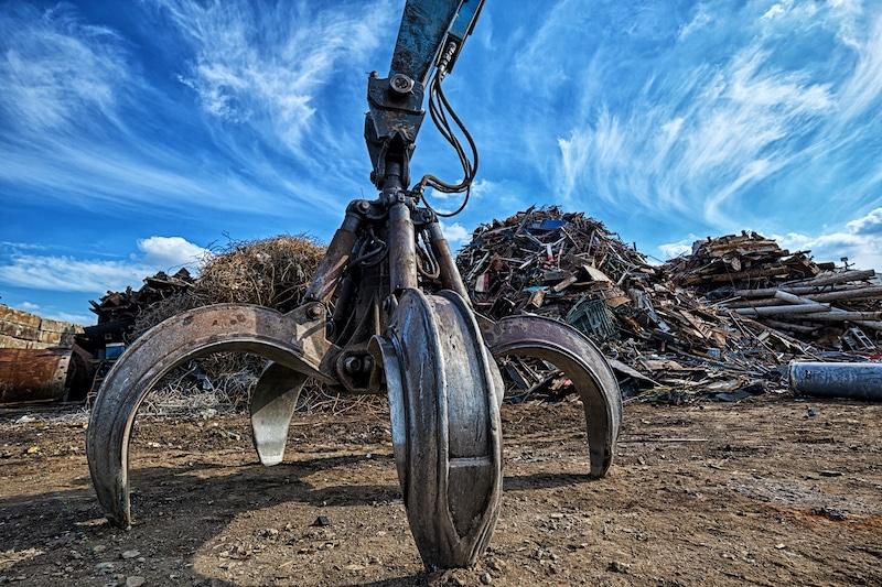 Crane in Scrap Metal Yard