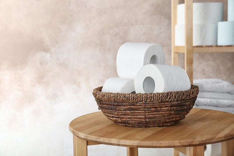 Toilet paper rolls on table