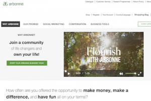 Arbonne website business opportunity page
