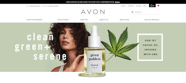 Avon product page featuring cosmetics and CBD facial oil