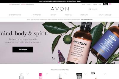 Avon website homepage