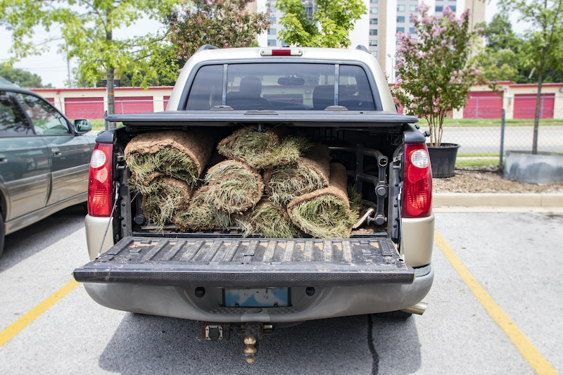 Close-up of back of pickup truck with bed protector and rolls of sod in the back with the tailgate down