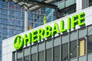 Herbalife building and logo. Herbalife International is a multi-level marketing company that sells nutrition, weight management and skin-care products.