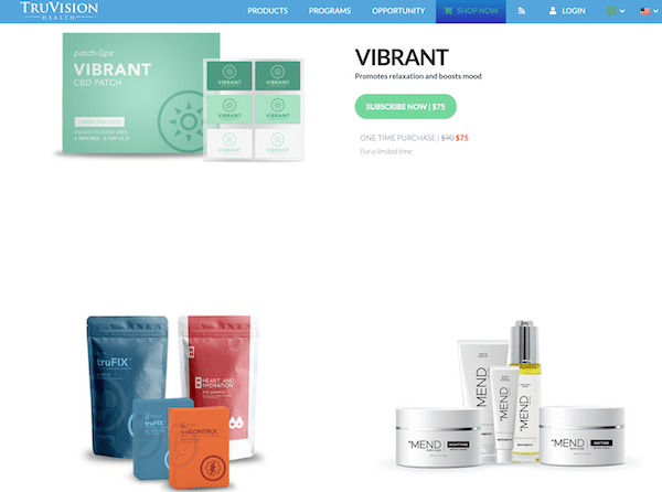 Products page on Truvision Health website