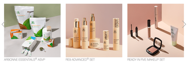 Arbonne products overview on the company website