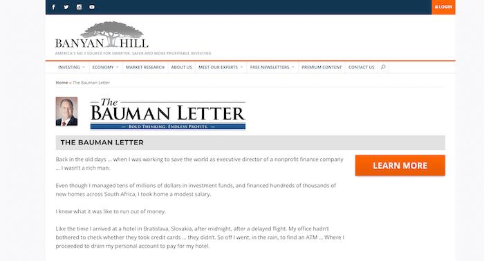 Banyan Hill website featuring The Bauman Letter subscription