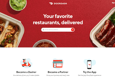 Homepage of Doordash website
