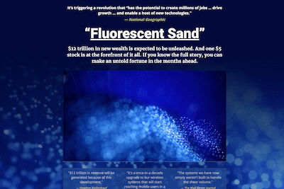 Fluorescent Sand presentation on Banyan Hill website