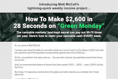 Matt McCall's Green Monday website