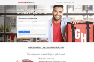 Homepage of Grubhub website