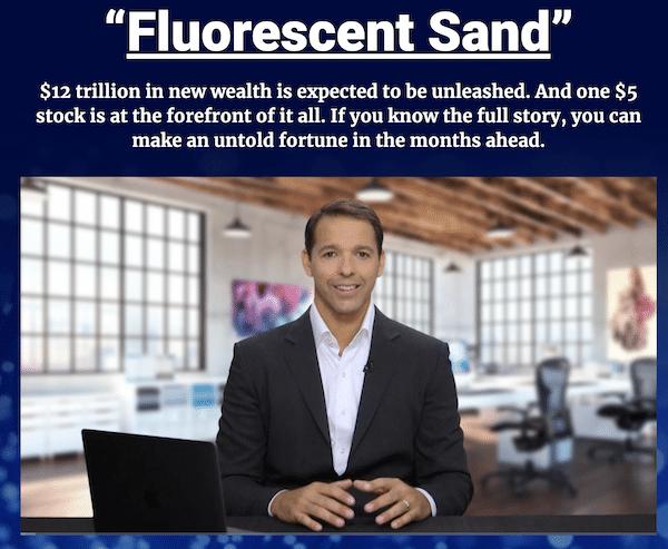 Ian King explaining his five dollar Fluorescent Sand stock pick