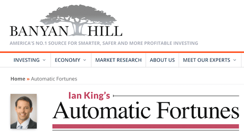Ian King on the Banyan Hill website discussing his Automatic Fortunes service