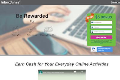 Homepage of InboxDollars website