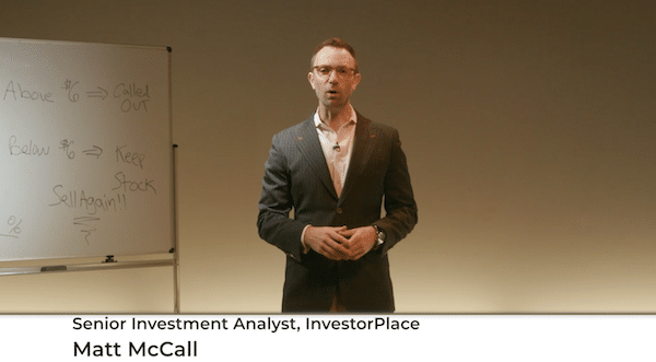 Matt McCall from InvestorPlace giving presentation about cannabis investing