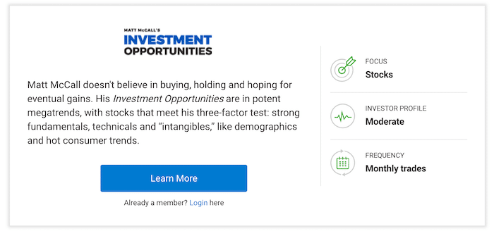 Overview of Matt McCall's Investment Opportunities on the InvestorPlace website