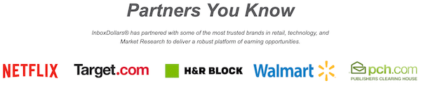 Logos of some companies who are partnered with Inbox Dollars