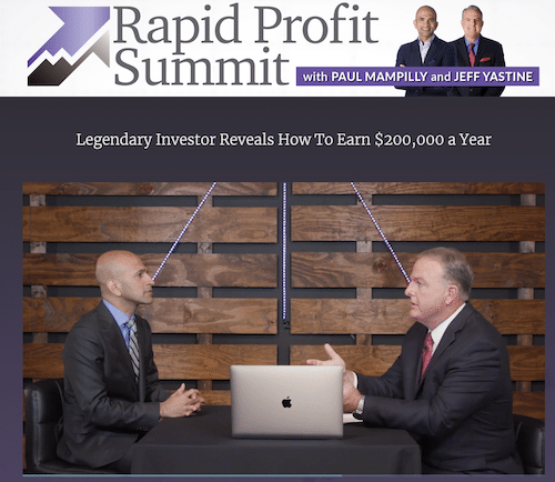 Paul Mampilly and Jeff Yastine interview about Rapid Profit method