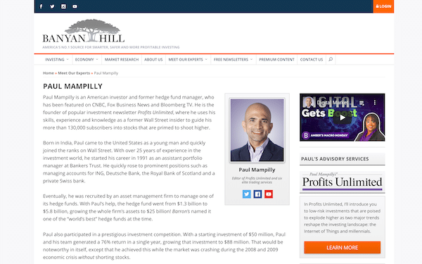 Paul Mampilly on the Banyan Hill website