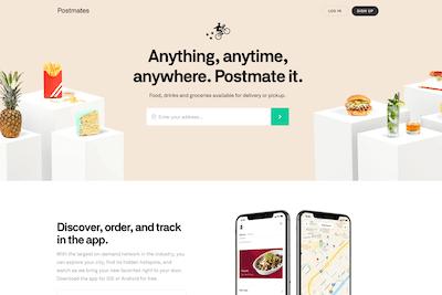 Homepage of the PostMates website