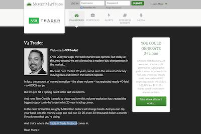 Tom Gentile's V3 Trader overview on the Money Map Press website