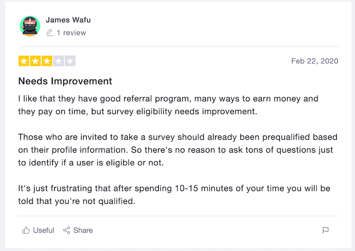 User review of ysense.com from Trustpilot website