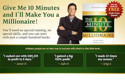 Review banner for D.R Barton's 10 Minute Millionaire