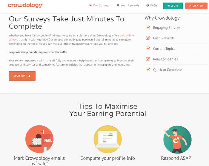 Surveys earning page on Crowdology website