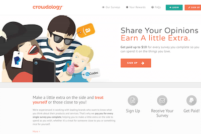 Page on Crowdology website about making money sharing opinions.