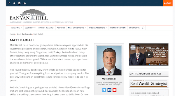 Matt Badiali on the Banyan Hill website