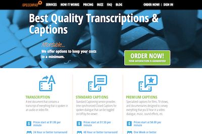 Speechpad transcription website