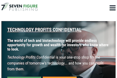 Ray Blanco's Technology Profits Confidential page on the Seven Figure Publishing website