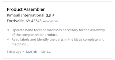 Example product assembler job on Indeed