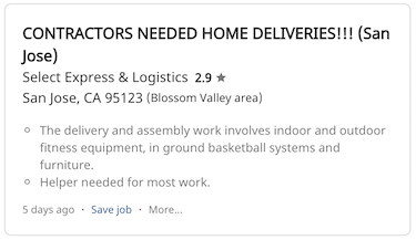 Example home assembly job on Indeed website