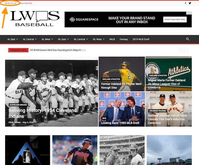 Write for us tab on LWOS website