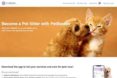 Become a pet sitter page on the PetBacker website