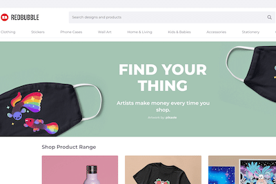 Redbubble website homepage