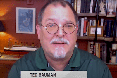 Closeup of Ted Bauman discussing The Bauman Letter subscription and other investment related topics.