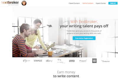 Textbroker website page where writers can signup to earn money writing.