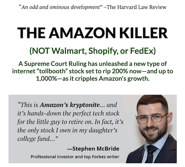 Stephen McBride's The Amazon Killer presentation where he talks about a tollbooth stock.