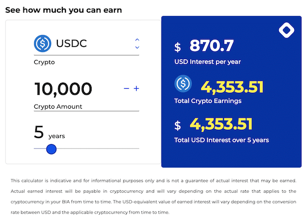 Example of Using BlockFi to Earn Interest with USDC on the BlockFi calculator.