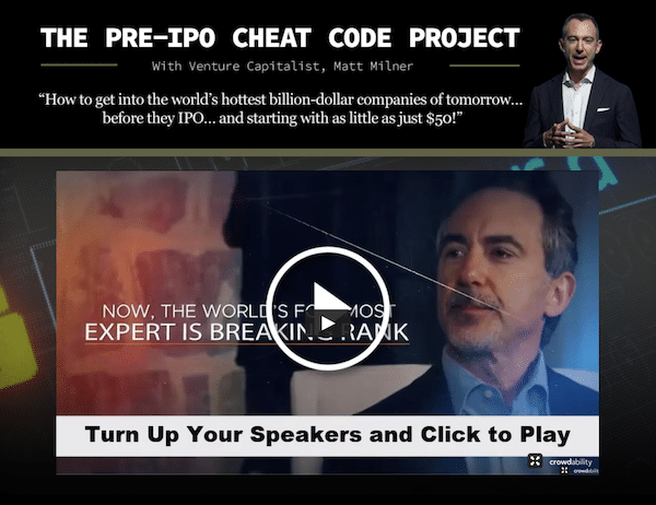 Matt Milner during his Pre-IPO Cheat Codes presentation which is used to promote The Early Stage Playbook course.