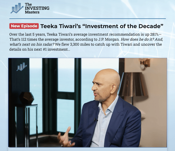 Teeka Tiwari discussing Genesis Technology in a presentation about his Investment Of The Decade, which was part of a series called The Investing Masters.