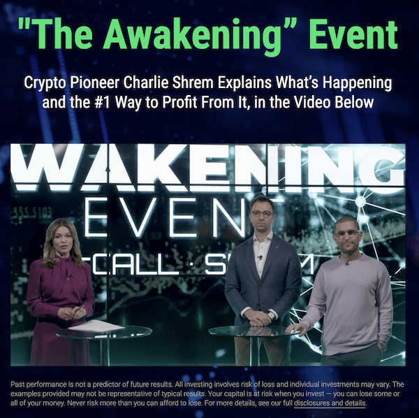 Charlie Shrem and Matt McCall in a presentation called The Awakening Event which is used to promote a service they run called The Crypto Investor Network.
