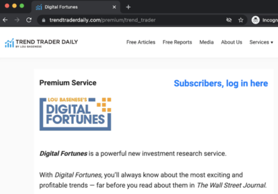 The Digital Fortunes service listed on the Trend Trader Daily website.