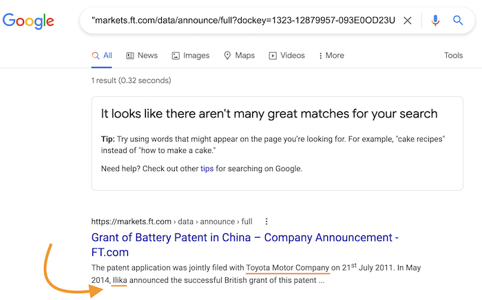 Screenshot of Google Search Results for Ilika and Toyota Joint Patent for Solid-State Battery Technology.