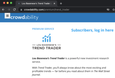 The Trend Trader service listed on the Crowdability website.