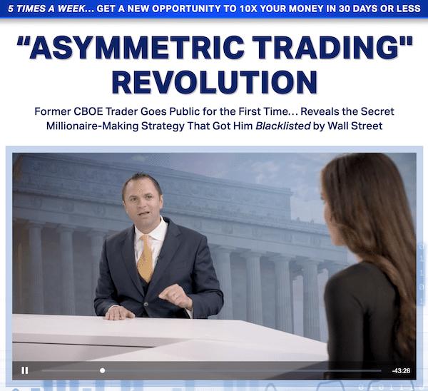Mark Sebastian and Olivia Voznenko during the Asymmetric Trading Revolution presentation where they discussed the Profit Revolution service on the Money Map Press website.
