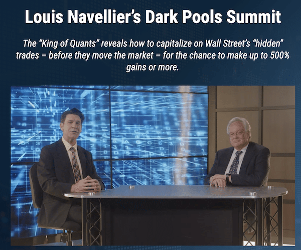 Louis Navellier and Brit Herring during the Dark Pools Summit on the InvestorPlace website.