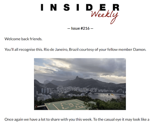 The first section of a weekly issue of the Insider Newsletter.